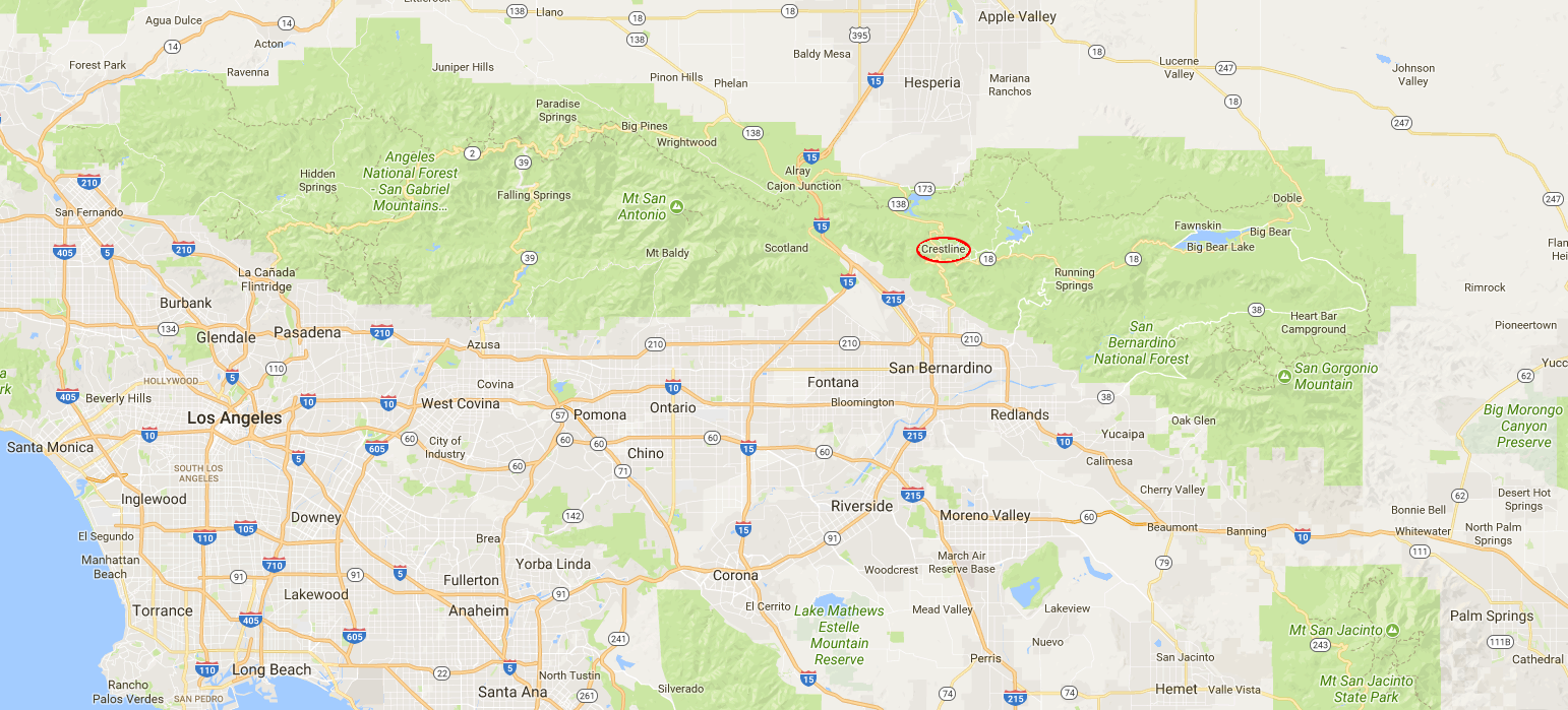 Crestline circled in red and its relation to the greater Los Angeles area.